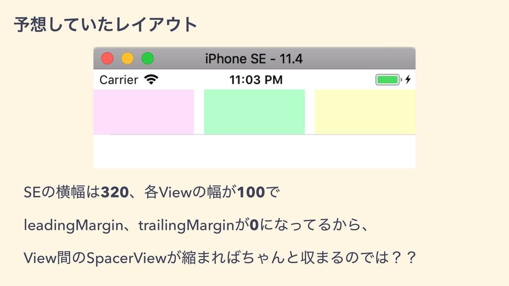 ༧͍ͯͨ͠ϨΠΞτ SEͷԣ෯320ɺ֤Viewͷ෯͕100Ͱ leadingMargi...