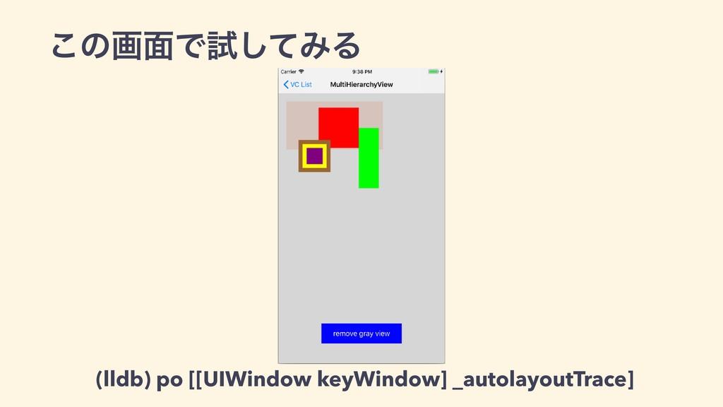 ͜ͷը໘Ͱࢼͯ͠ΈΔ (lldb) po [[UIWindow keyWindow] _aut...