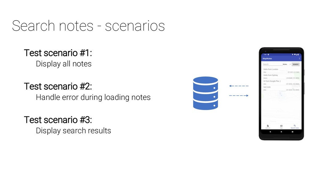 Search notes - scenarios Test scenario #1: Disp...