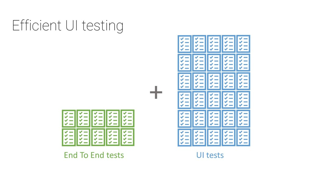 Efficient UI testing End To End tests UI tests +