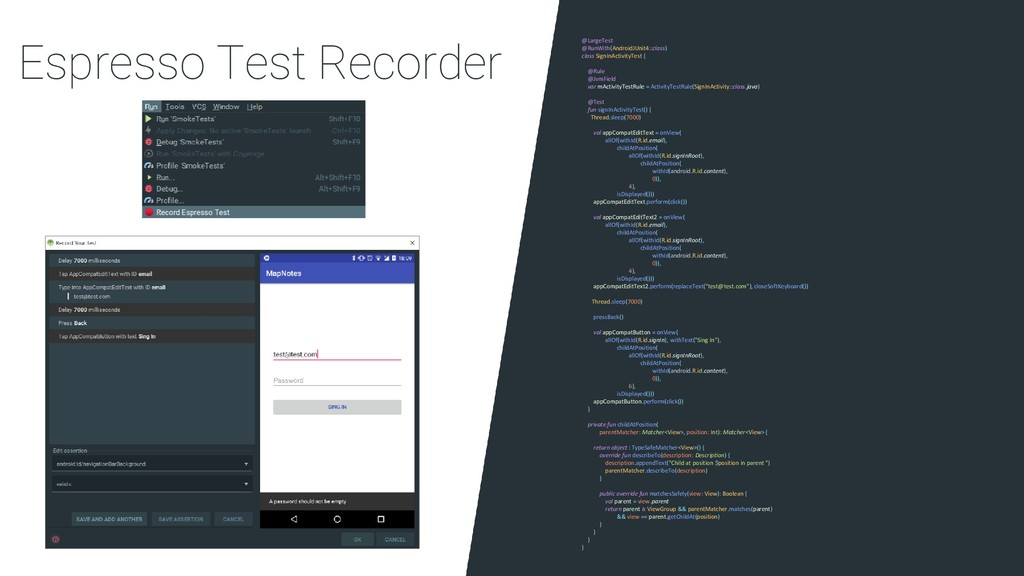 Espresso Test Recorder @LargeTest @RunWith(Andr...