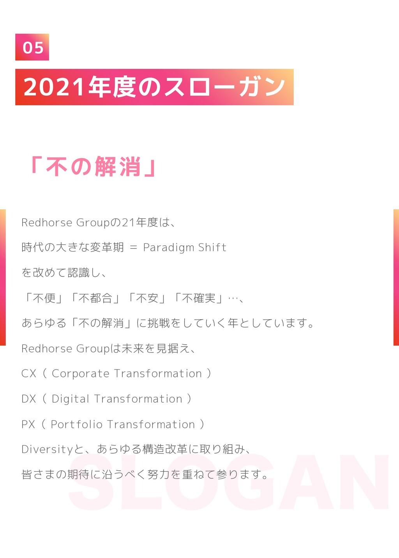 2021年度のスローガン 05 Redhorse Groupの21年度は、 時代の大きな変革期...