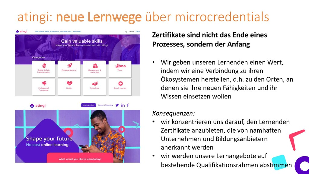 atingi: neue Lernwege über microcredentials Zer...