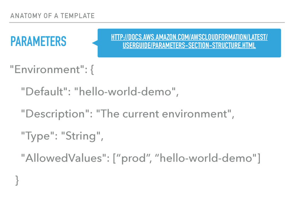 """ANATOMY OF A TEMPLATE PARAMETERS """"Environment"""":..."""