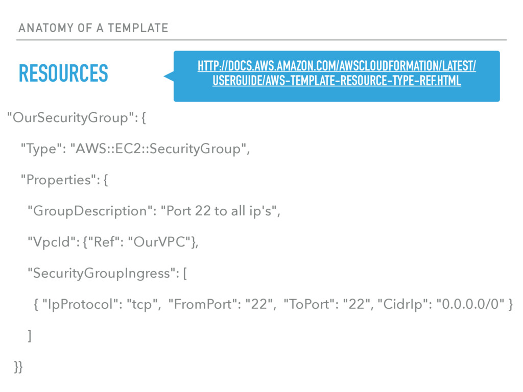"""ANATOMY OF A TEMPLATE RESOURCES """"OurSecurityGro..."""