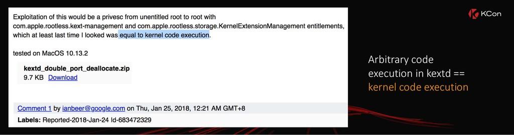 Arbitrary code execution in kextd == kernel cod...