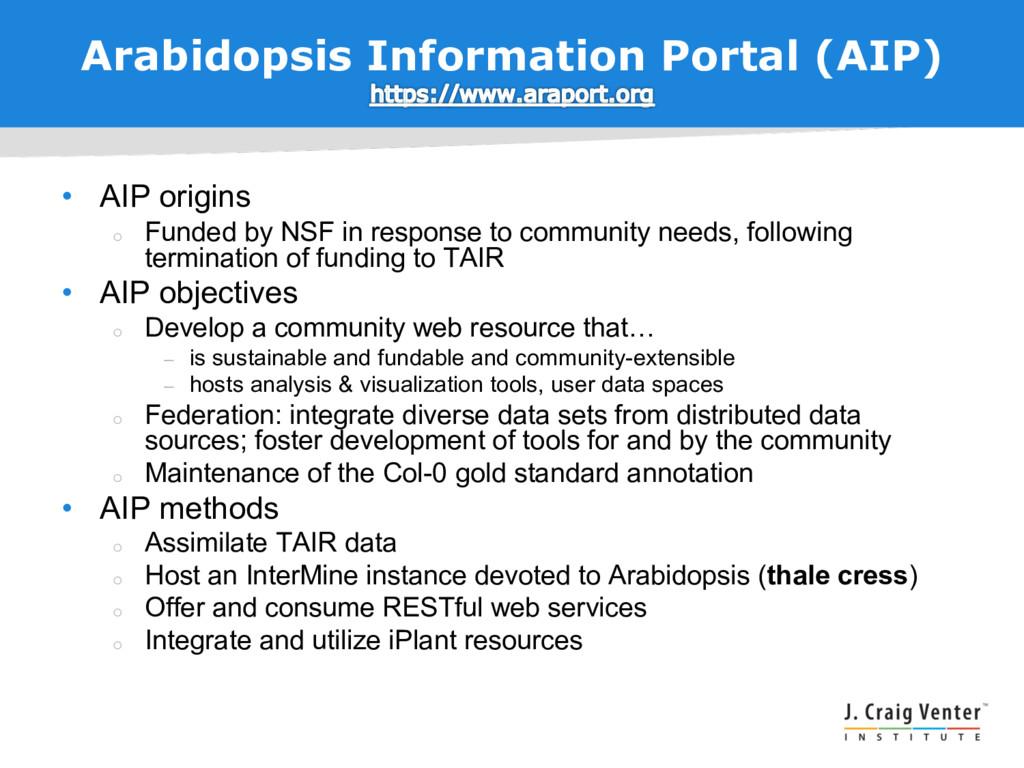 Arabidopsis Information Portal (AIP) • AIP orig...