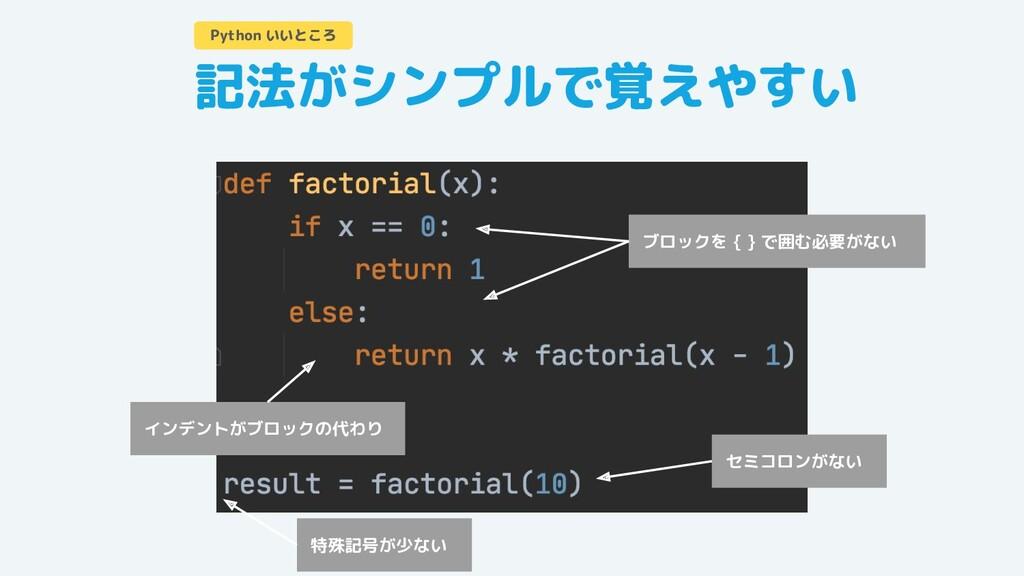 記法がシンプルで覚えやすい Python いいところ インデントがブロックの代わり ブロックを...