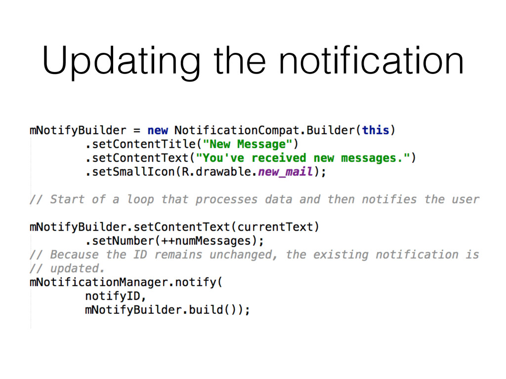 Updating the notification