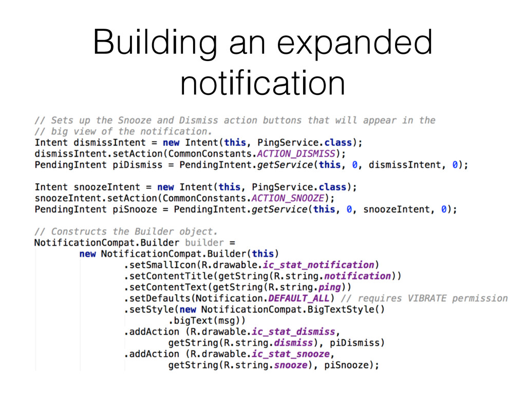 Building an expanded notification