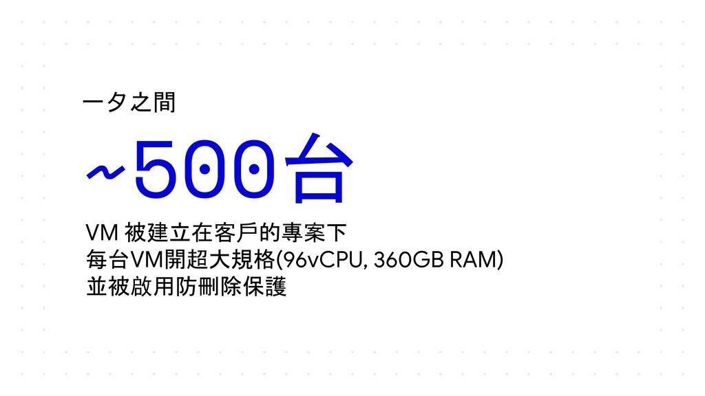一夕之間 VM 被建立在客戶的專案下 每台VM開超大規格(96vCPU, 360GB RAM)...