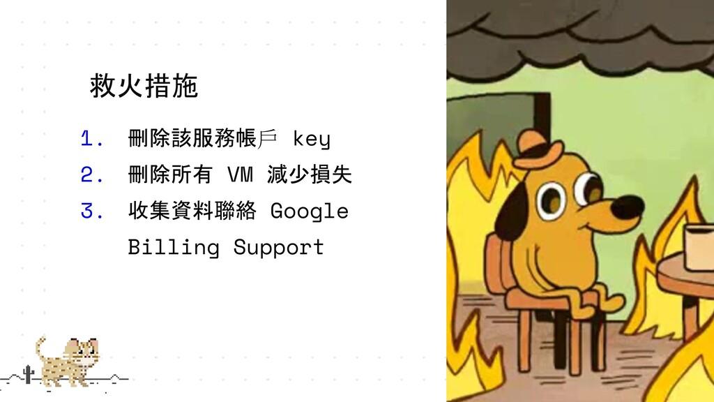 1. 刪除該服務帳戶 key 2. 刪除所有 VM 減少損失 3. 收集資料聯絡 Google...