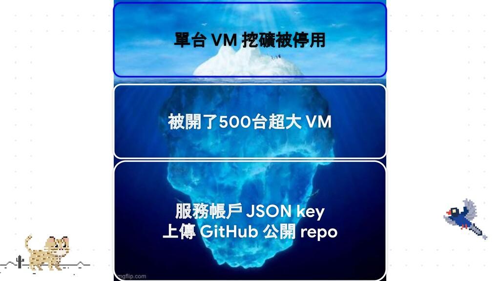 單台 VM 挖礦被停用 被開了500台超大 VM 服務帳戶 JSON key 上傳 GitHu...