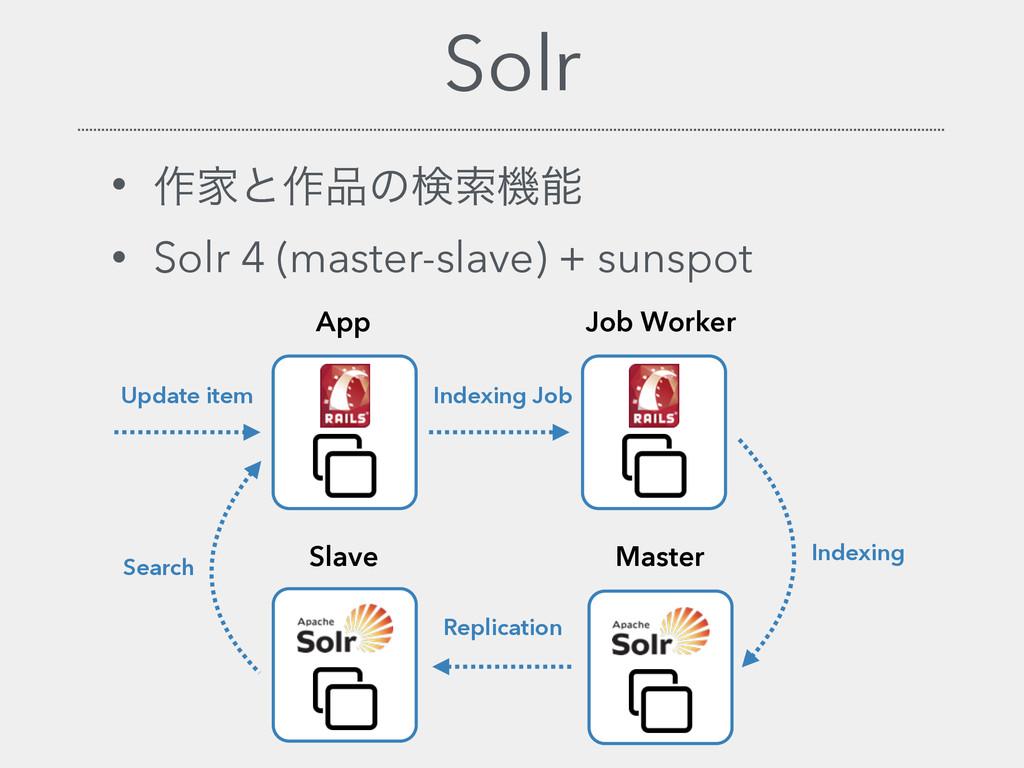 Solr • ࡞Ոͱ࡞ͷݕࡧػ • Solr 4 (master-slave) + sun...