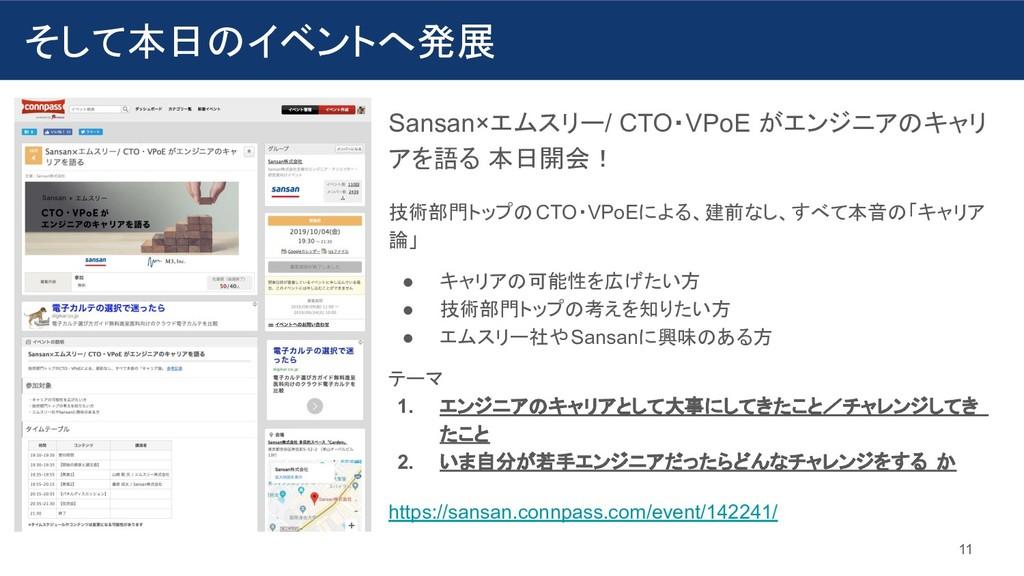 そして本日のイベントへ発展 11 Sansan×エムスリー/ CTO・VPoE がエンジニアの...