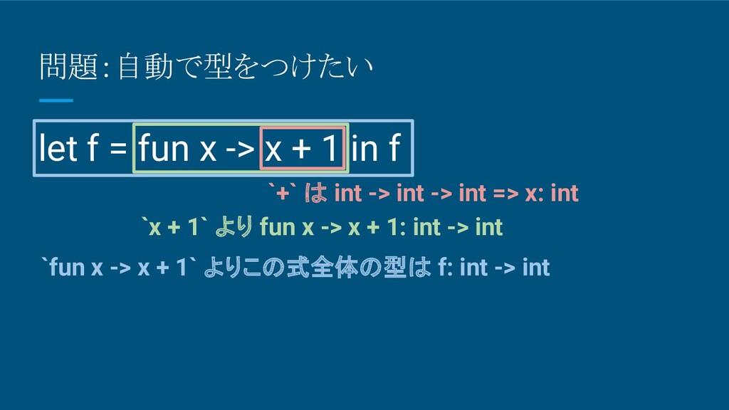 問題:自動で型をつけたい let f = fun x -> x + 1 in f `+` は ...