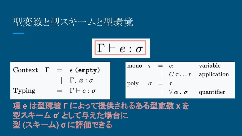 型変数と型スキームと型環境 項 e は型環境 Γ によって提供されるある型変数 x を 型スキ...