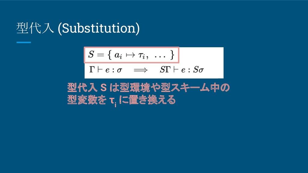 型代入 (Substitution) 型代入 S は型環境や型スキーム中の 型変数を τ i ...