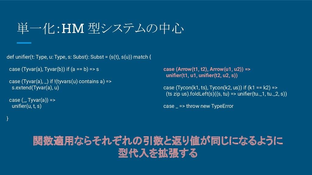 単一化:HM 型システムの中心 def unifier(t: Type, u: Type, s:...