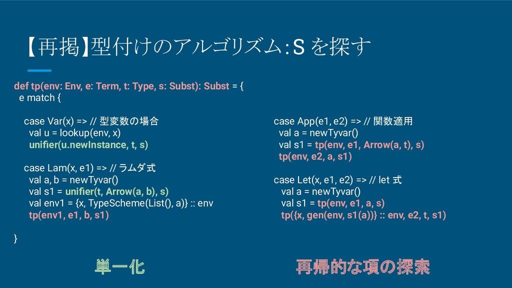 【再掲】型付けのアルゴリズム:S を探す def tp(env: Env, e: Term, ...