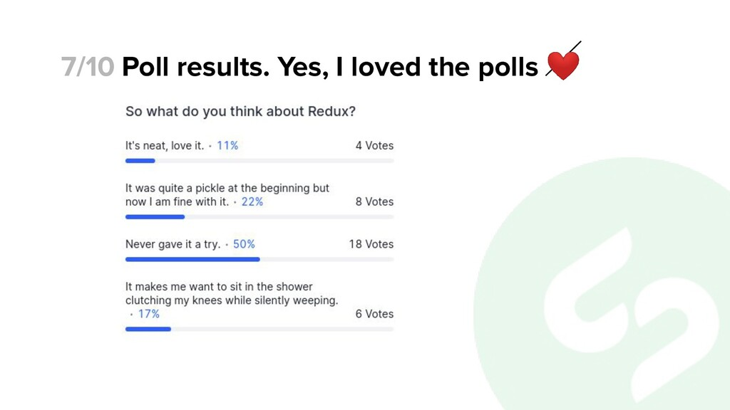 Poll results. Yes, I loved the polls ❤ 7/10