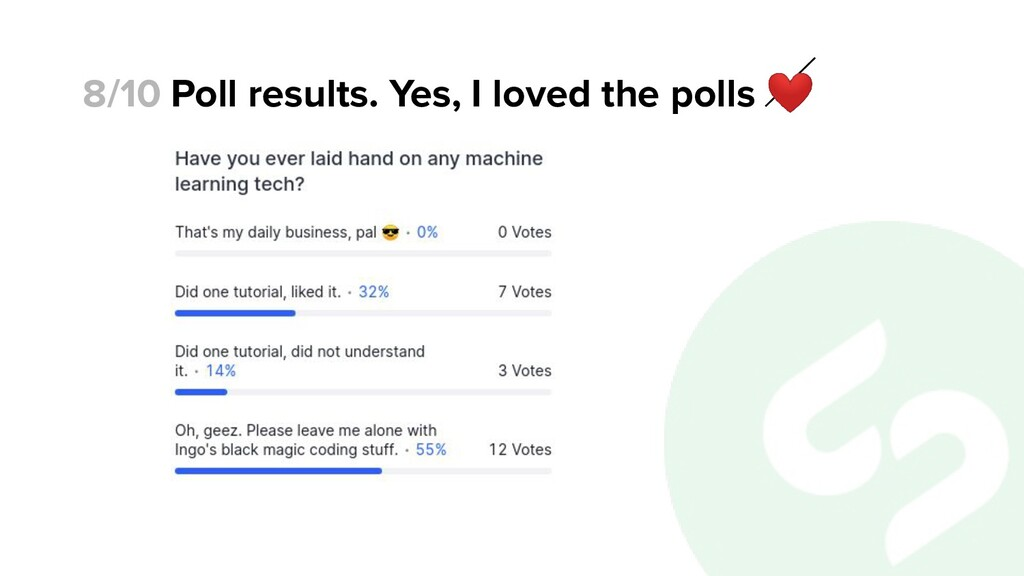 Poll results. Yes, I loved the polls ❤ 8/10