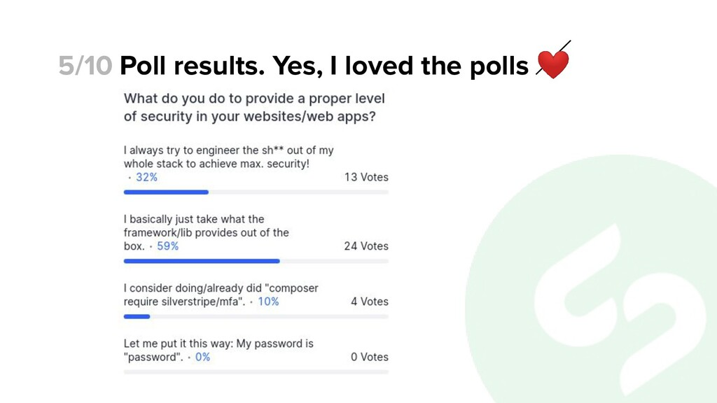 Poll results. Yes, I loved the polls ❤ 5/10