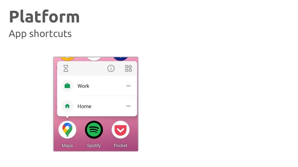 Platform App shortcuts