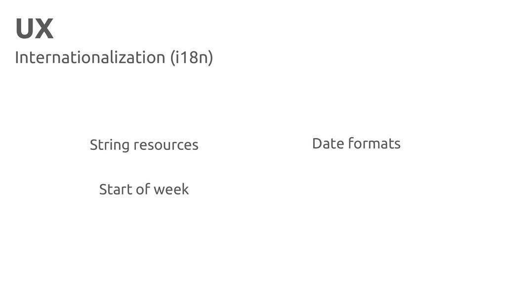 UX Internationalization (i18n) Start of week Da...