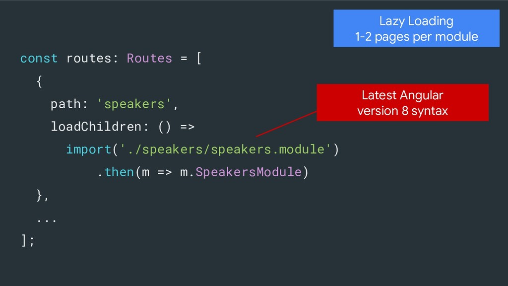 Lazy Loading 1-2 pages per module const routes:...