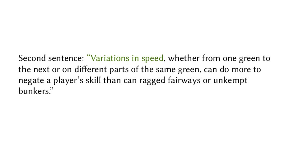 "Second sentence: ""Variations in speed, whether ..."