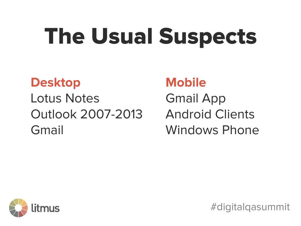 #digitalqasummit The Usual Suspects Desktop Lot...