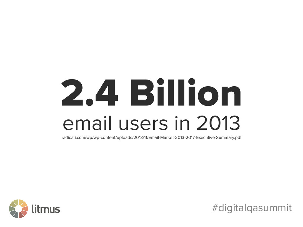 #digitalqasummit 2.4 Billion email users in 201...
