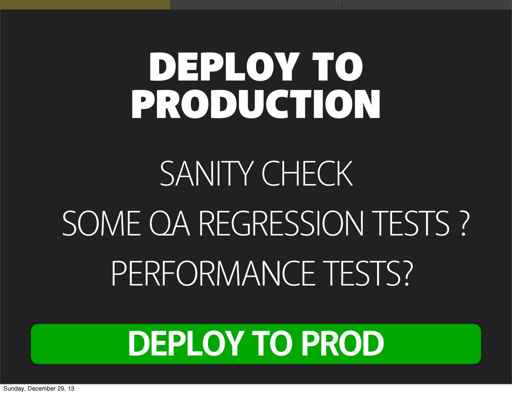 SANITY CHECK DEPLOY TO PRODUCTION SOME QA REGRE...