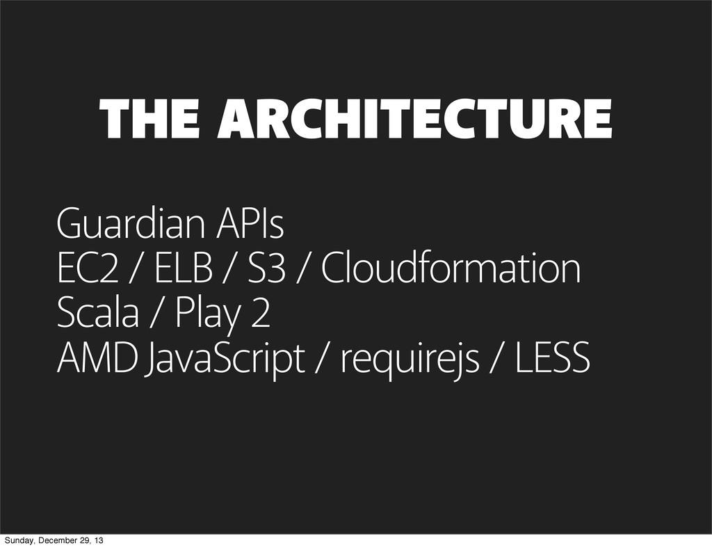 THE ARCHITECTURE Guardian APIs EC2 / ELB / S3 /...