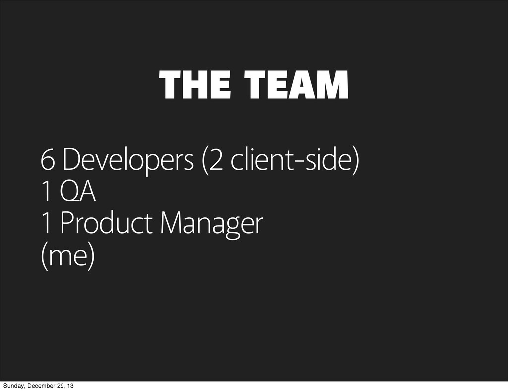 THE TEAM 6 Developers (2 client-side) 1 QA 1 Pr...