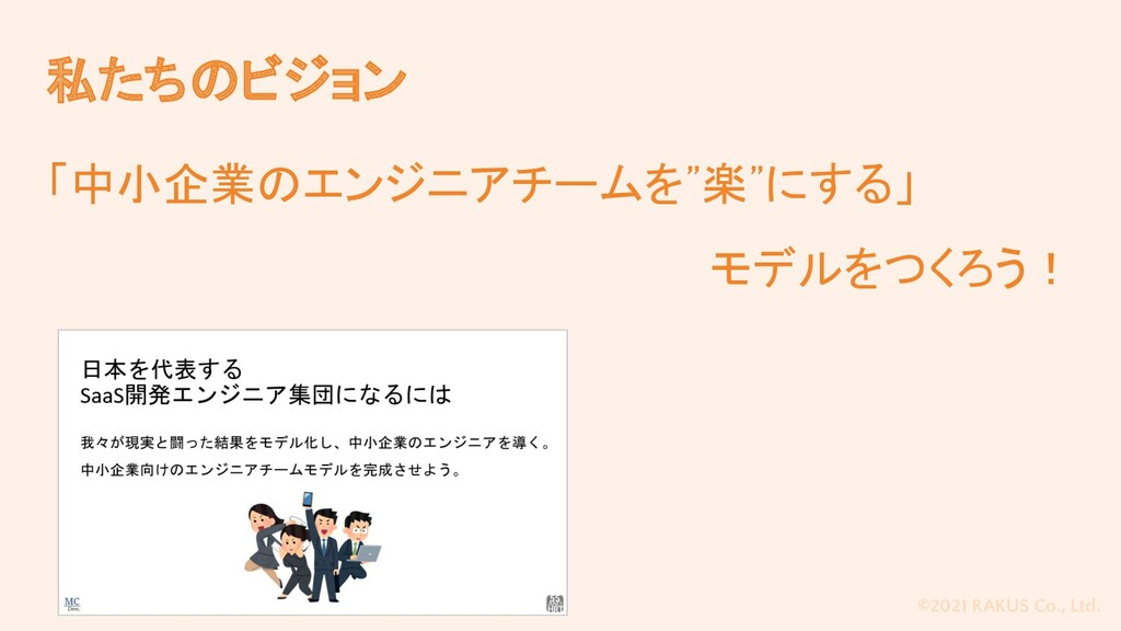 """©2021 RAKUS Co., Ltd. 私たちのビジョン 「中小企業のエンジニアチームを""""..."""