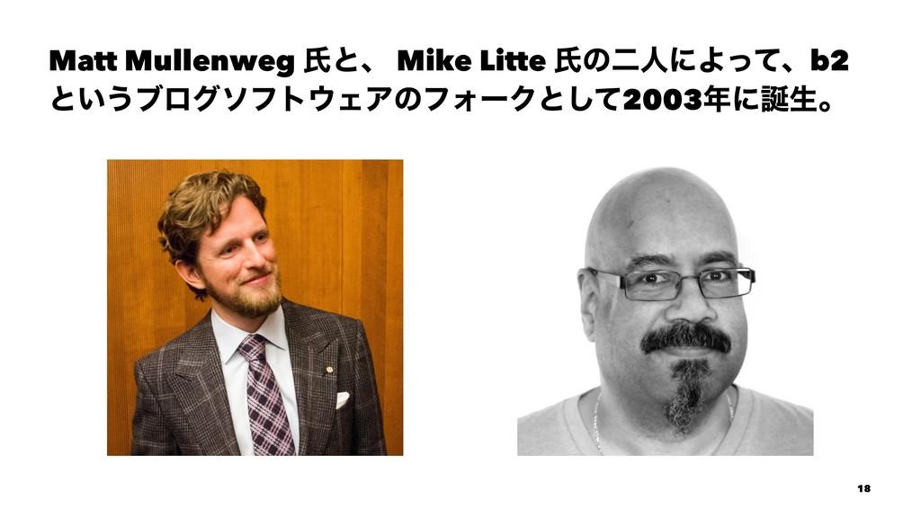 Matt Mullenweg ࢯͱɺ Mike Litte ࢯͷೋਓʹΑͬͯɺb2 ͱ͍͏ϒϩ...