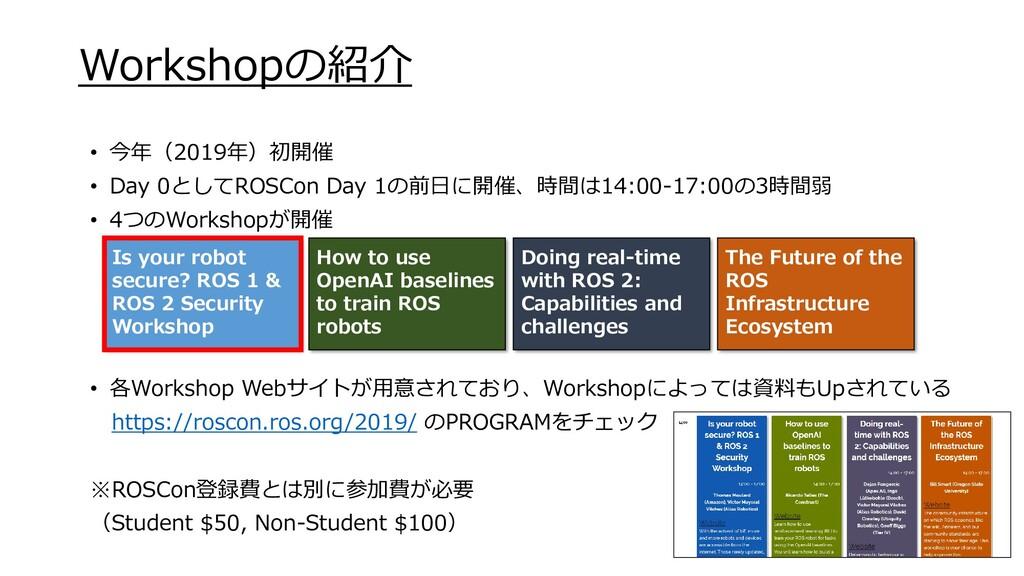 Workshopの紹介 • 今年(2019年)初開催 • Day 0としてROSCon Day...