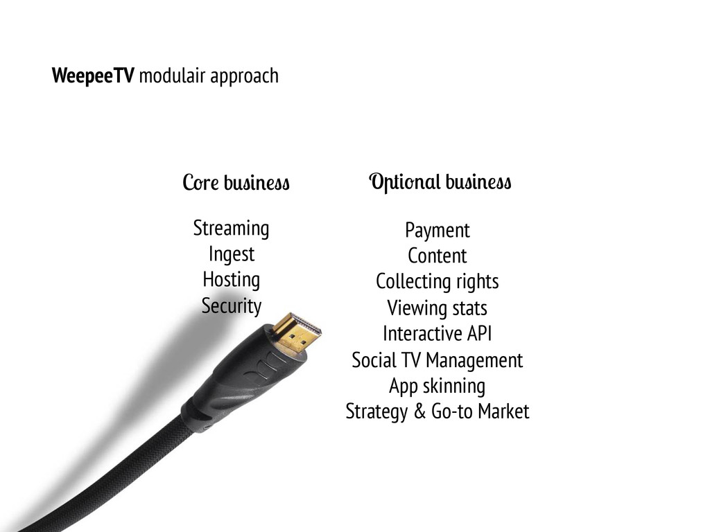 WeepeeTV modulair approach C r b O b Streaming ...