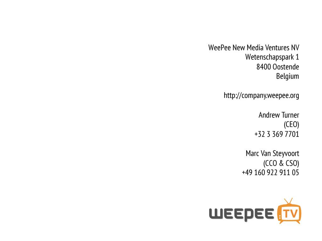 WeePee New Media Ventures NV Wetenschapspark 1 ...