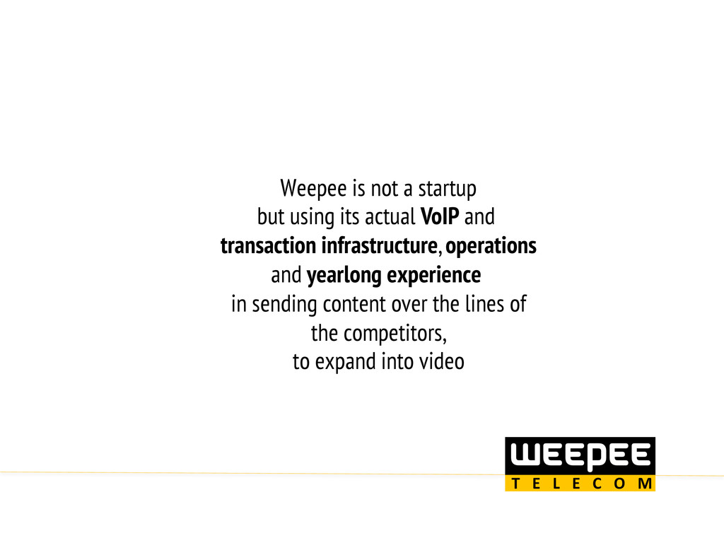 Weepee is not a startup but using its actual Vo...