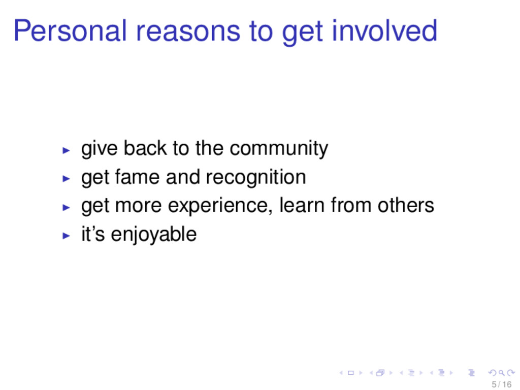 Personal reasons to get involved give back to t...