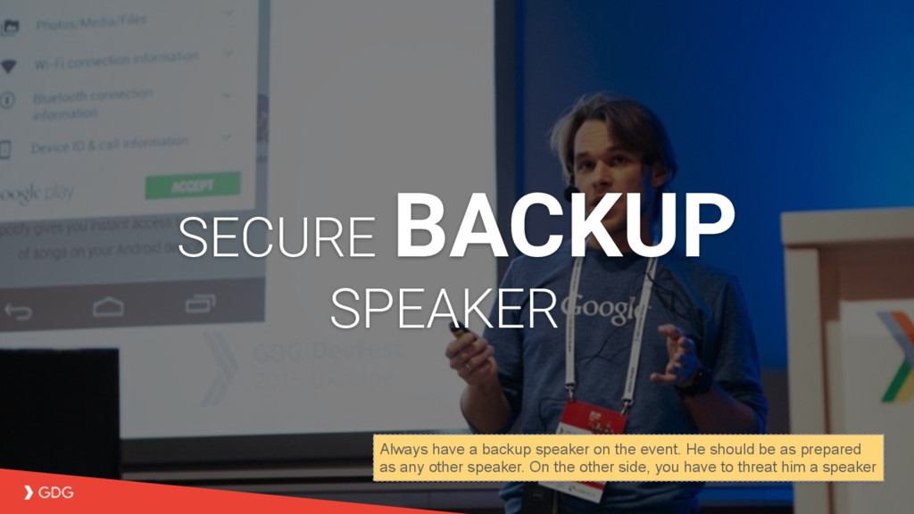 SECURE BACKUP SPEAKER Always have a backup spea...