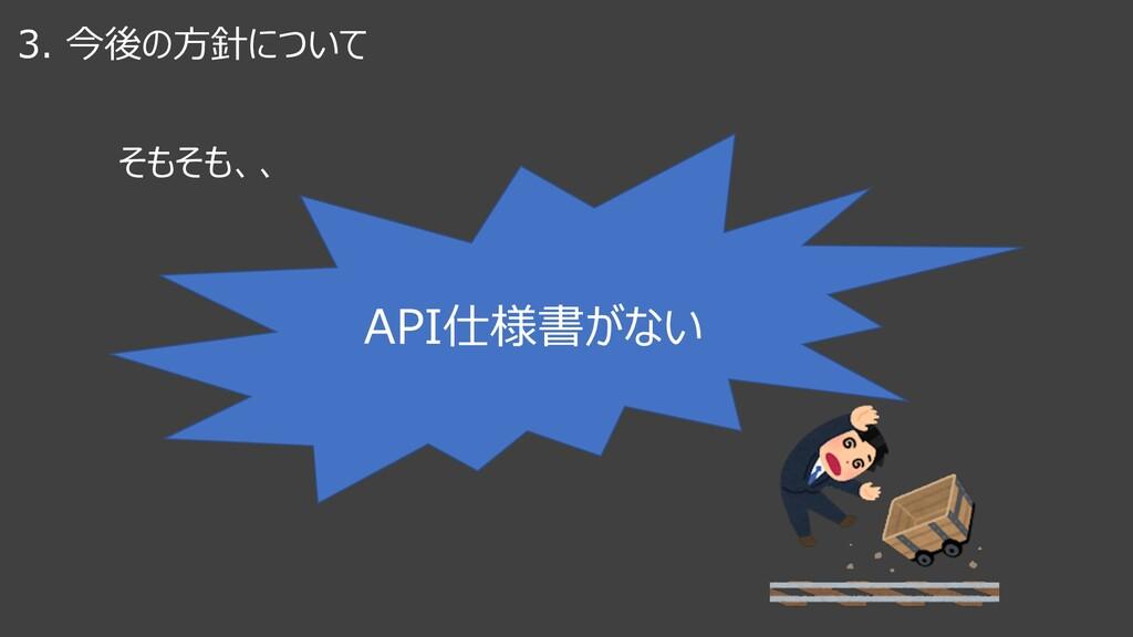 3. 今後の⽅針について そもそも、、 API仕様書がない