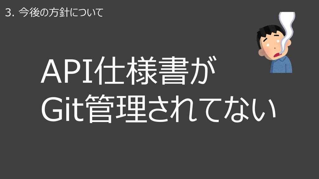 3. 今後の⽅針について API仕様書が Git管理されてない