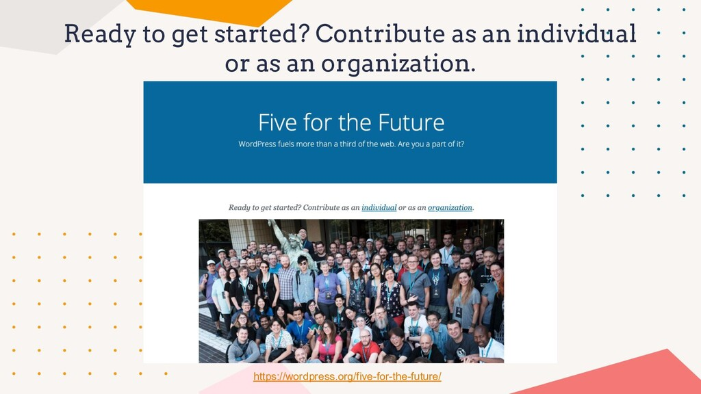 Ready to get started? Contribute as an individu...