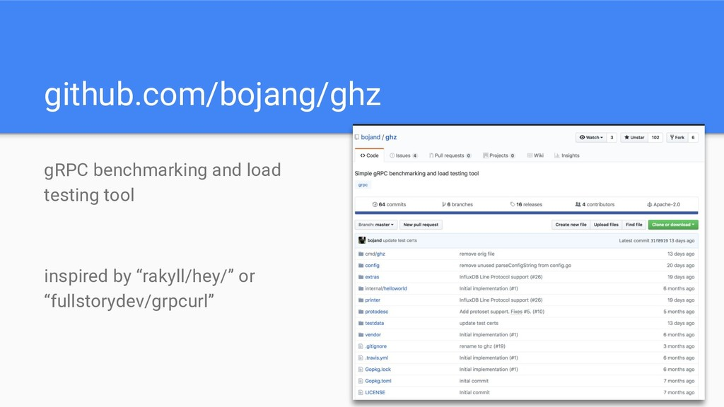 github.com/bojang/ghz gRPC benchmarking and loa...