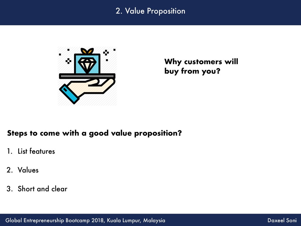 2. Value Proposition 1. List features 2. Values...