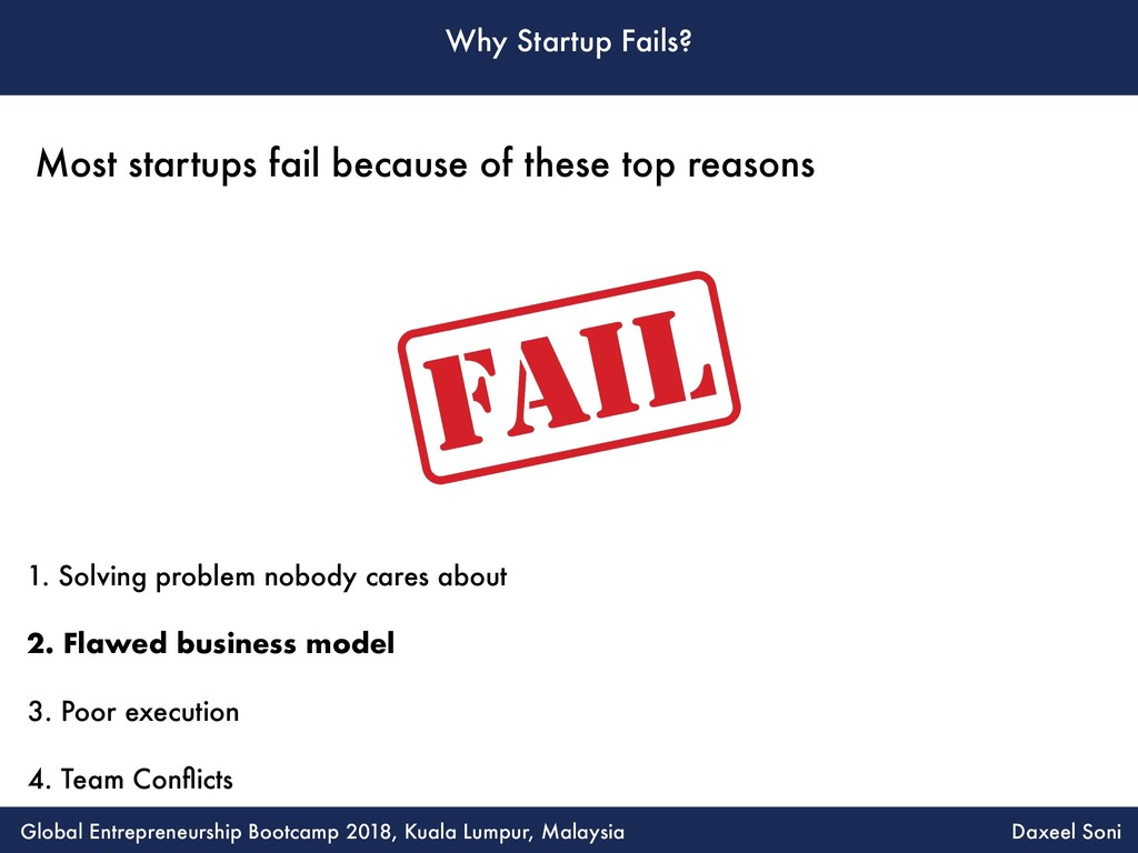 Why Startup Fails? 1. Solving problem nobody ca...